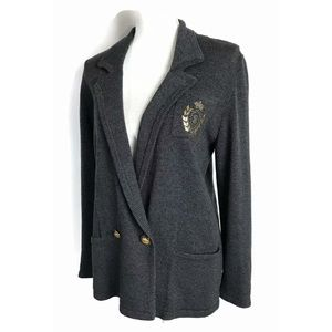 Vintage Crest Cardigan Don Sayres Gray Gild Button